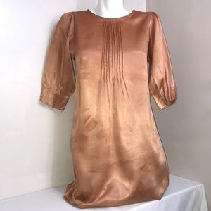 Golden Peach Shiny 3/4 Sleeve Silky Ruched Dress